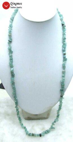 "Vert 7-8 mm Baroque Natural Jade Stone 33/"" Collier Long Pour Femme Bijoux n5813"