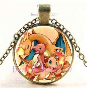 Vintage-Pokemon-Fire-Evolutions-Cabochon-Glass-Dome-Bronze-Pendant-Necklace-E52