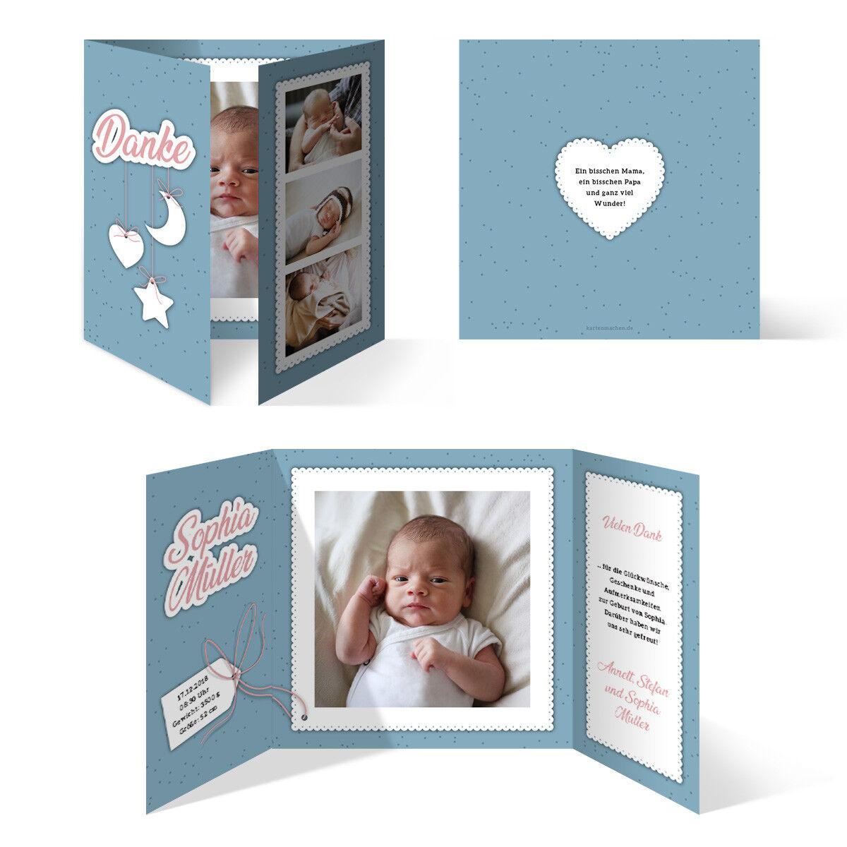 Geburtskarten Babykarten Dankeskarten Geburt Mädchen Junge Sonne Mond und Sterne   | Neuer Eintrag  | Verschiedene