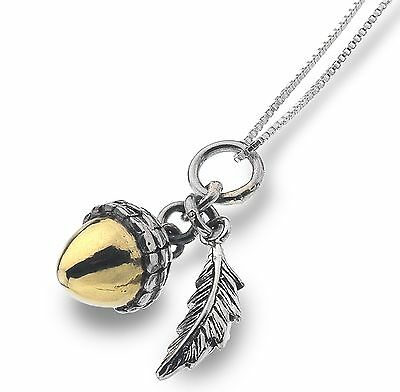 Pure Origins Sterling Silver 925 Brass Acorn Leaf Pendant Necklace in Gift Box