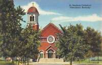 Owensboro Kentucky St Stephens Cathedral Street View Antique Postcard K61291