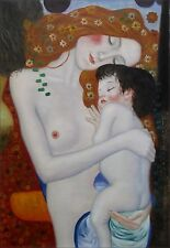 Gustav Klimt Mother and Child Repro, Hand Painted Oil Painting, 24x36in