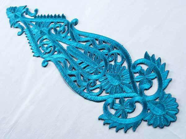 Extra Large Iron-On Appliques. Teal Blue Ghagra Lehenga Lace Appliqué From India