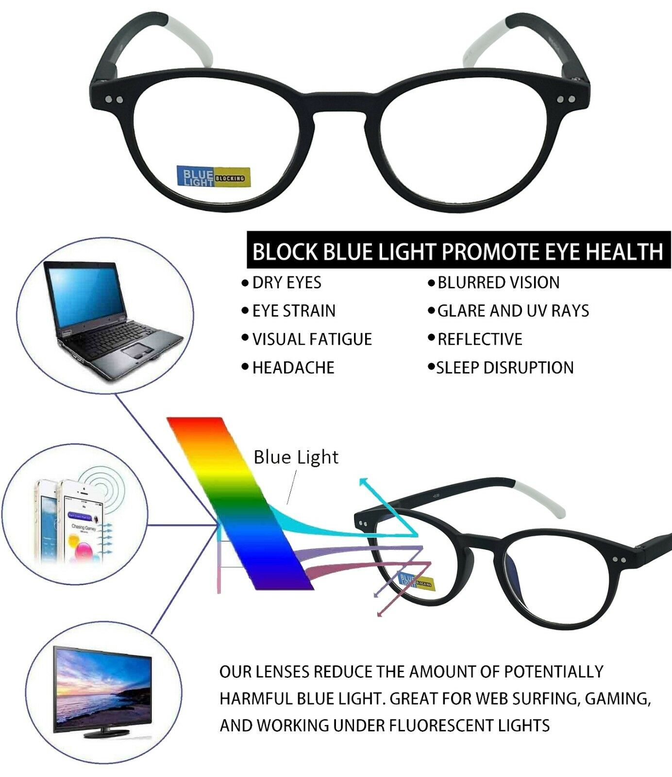 43c3cce5f5 Blue Light Blocking Retro Round Computer Reading Glasses Anti UV Eye Strain