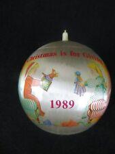 "VINTAGE 1989 ""CHRISTMAS IS FOR GIVING""  SATIN CHRISTMAS ORNAMENT"