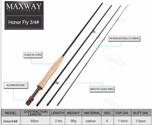 Maxway honor moscas vara-Fly-Rod cuerda clase   3 4-5 6-7 8-9 10 la pesca con mosca.