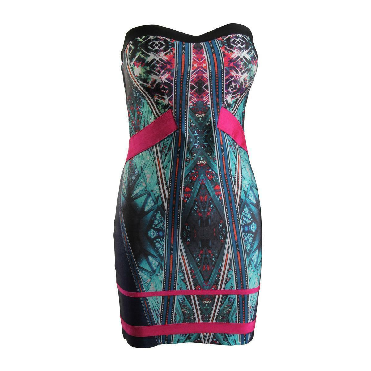 388 WOW COUTURE WOMEN'S blueE PINK PRINTED STRAPLESS SHEATH MINI DRESS SIZE S