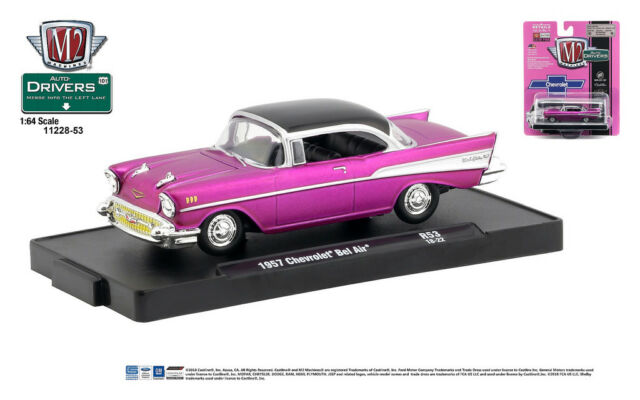 M2 Machines Auto Drivers 1 64 R53 1957 Chevrolet Bel Air Satin Pink