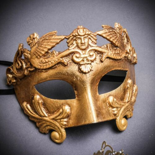 Luxury Gold Couple Masks Pair King /& Queen Party Venetian Masquerade Costume