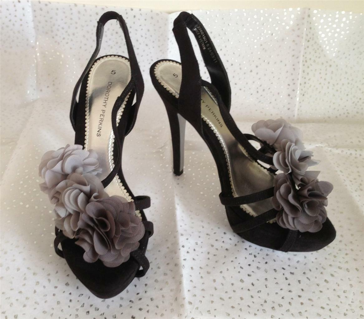DgoldTHY PERKINS BLACK SUEDE CORSAGE TRIM HIGH HEEL STRAPPY EVENING SANDALS UK 5