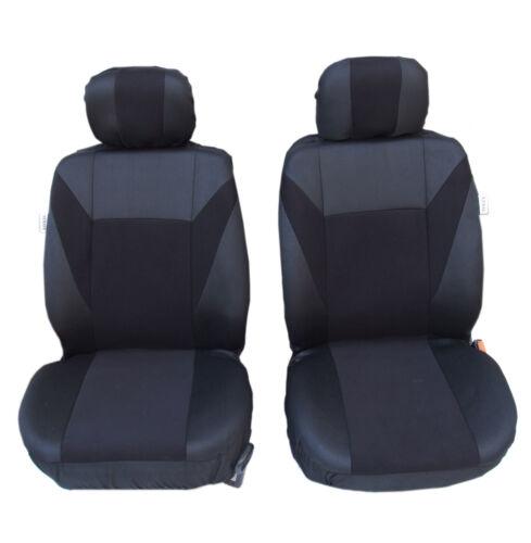2 vordere Sitzbezüge Schonbezüge Polyester Schwarz für Audi Citroen Fiat Ford