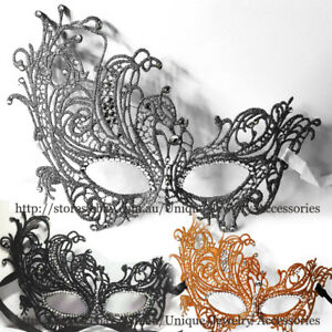Masquerade-Metallic-Mask-Rhinestone-Venetian-Costume-Party-Ball-Dress-Black-Lace
