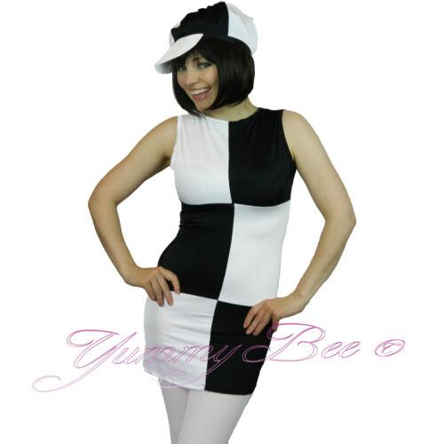 Yummy Bee Black White 60s Disco Mod Fancy Dress Women Costume Cap