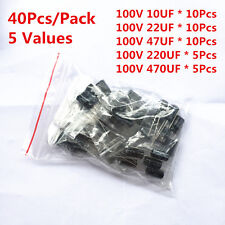 40pcs 100v 10uf 22uf 47uf 220uf 470uf Electrolytic Capacitor Assorted Kit