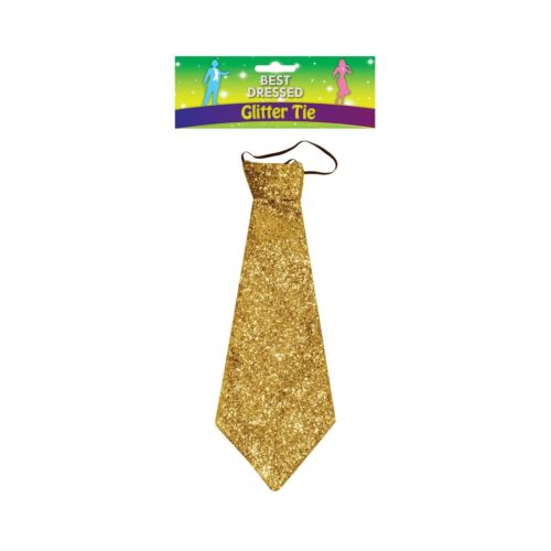 GOLD SPARKLE TIE GLAMOUR DANCER STAG DO PARTY fancy dress accessory