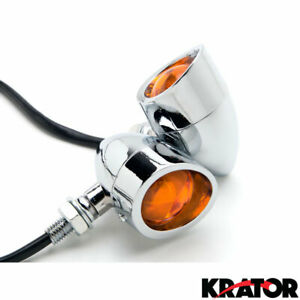 Krator 2pcs Chrome Motorcycle Turn Signals Blinker Lights Compatible with Kawasaki Vulcan Classic Custom 900