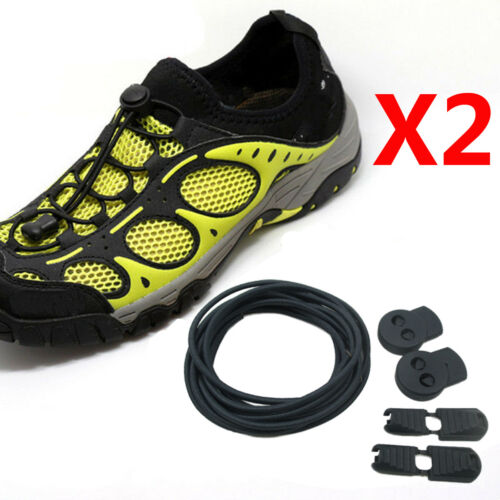 2Pair No Tie Shoe Elastic Lock Lace System Lock Sports Shoelaces Runners Trainer