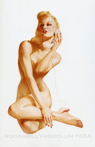 Pin Up Girl Poster 11x17 Varga Alberto Vargas nude blonde on telephone