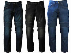Motorcycle-Jeans-Motorbike-Trousers-Pants-Men-039-s-AV-Denim-with-Protective-Lining