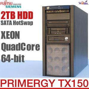 64-BIT Quad Core Pro Server FSC Primergy TX150 S6 Raid Hotswap 2TB HDD Tape Ok