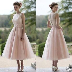 74848ca963bd Pink Bridesmaid Dresses A Line Tea Length Modest Plus Size Summer ...