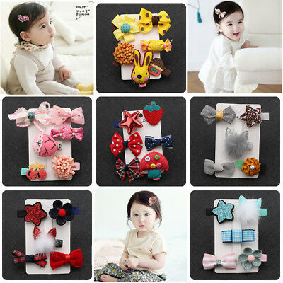 5//6Pcs Baby Kids Mini Size Bow Flower Star Hair Clip Bowknot Bobby Pin Hairpin