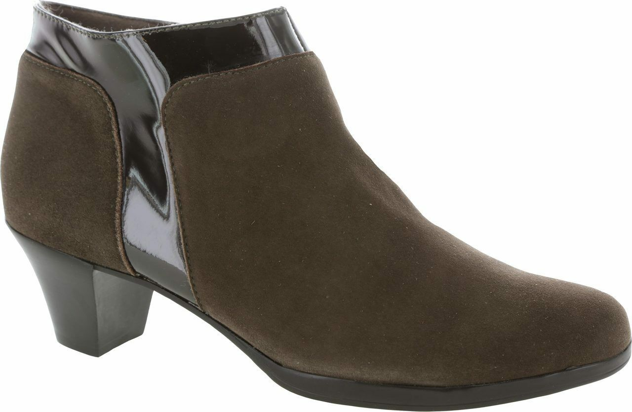 NEW Munro Hope Ankle Bootie, Brown Leather Suede, Women Size 10.5 Narrow