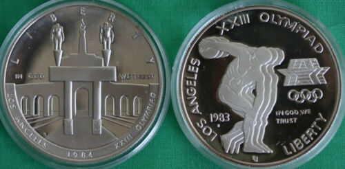 1983 S and 1984 S PROOF Olympic Silver Dollar 2 Coin US Mint Commemorative Set