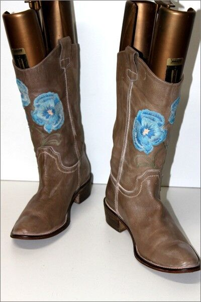 MELINE Leather Boots Flexible Beige Embroidery Encrusted T 40 IT 41 FR