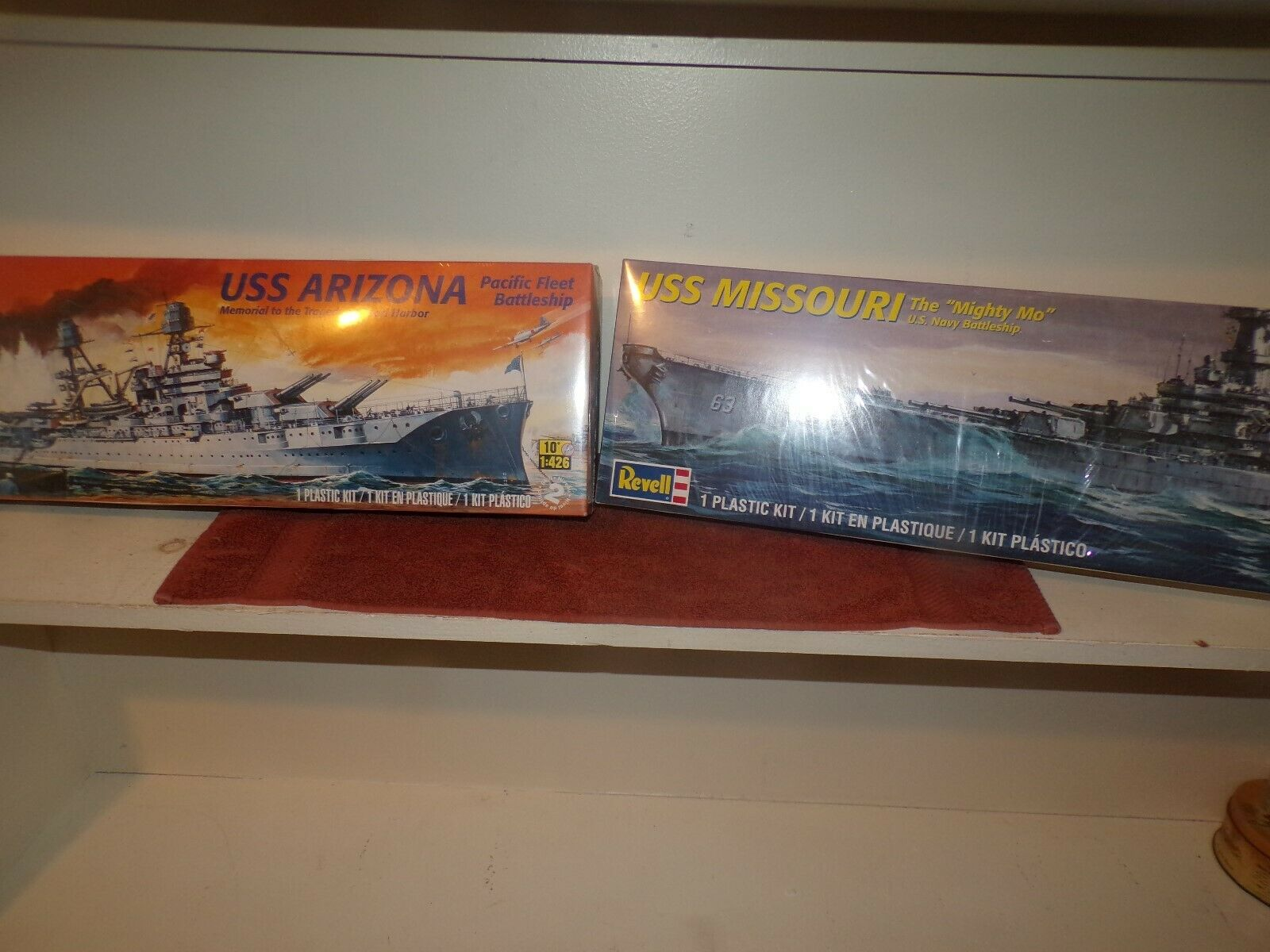 LOT OF TWO REVELL MODEL SHIPS USS MISSOURI & USS ARIZONA FACTORY SEALED NICE