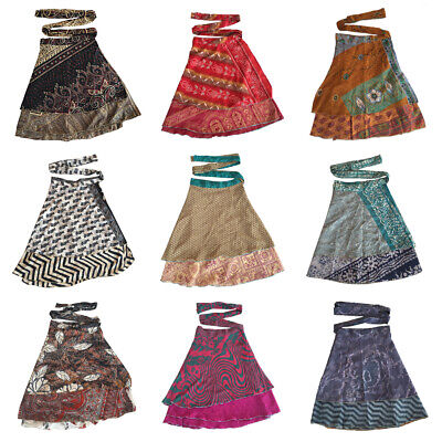 Vintage Silk Sari Wrap Skirt Reversible Neck Wrap Dress For Girls Women Wear Belly Dance Waist Skirt 2 Layer Magic Wrap Reversible Skirt