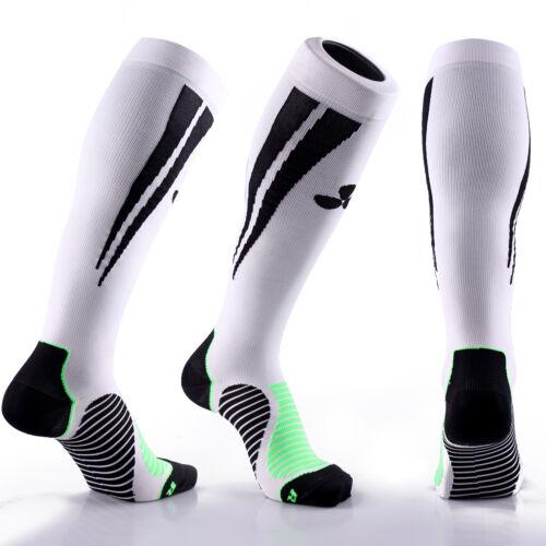 SAMSON® COMPRESSION SOCKS WHITE BLACK FOOTBALL RUNNING SPORT GYM MENS WOMENS