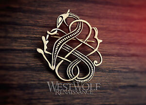 Details about Viking Dragon Brooch ---  Norse/Medieval/Jewelry/Pin/Bronze/Gold/Celtic/Skyrim