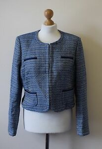 Bnwt-Collection-By-John-Lewis-Blue-Boucle-Tweed-Crop-Jacket-UK-14-R114