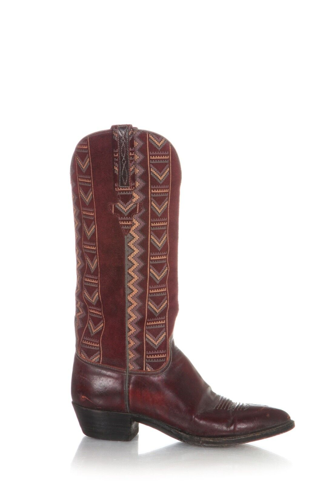 LUCCHESE Cowboy Stiefel Größe 7 7 7 Leather Suede Maroon rot Block Heel Pointed Toe 9010d3
