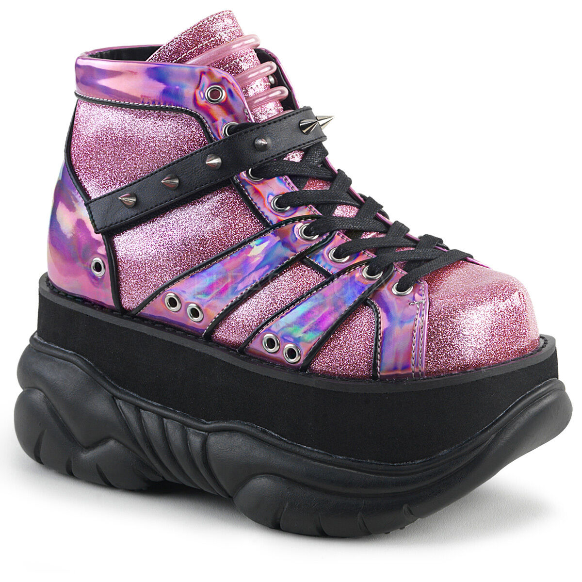 Demonia 3  Platform Pink Glitter Hologram Spiked Boots shoes Club Cyber 4-12
