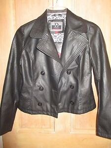 Faux Coat Leather Top Dollhouse Ladies Pu Jacket Ny Black S Moto Shirt zInwU