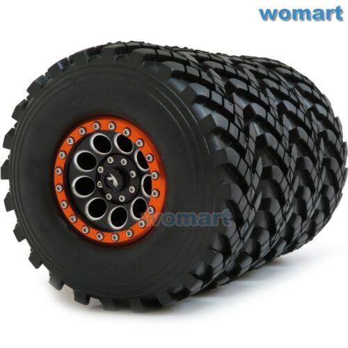 4pcs RC 2.2 Crawler Truck Tires Tyre OD 129mm /& Aluminium 2.2 Beadlock wheel rim