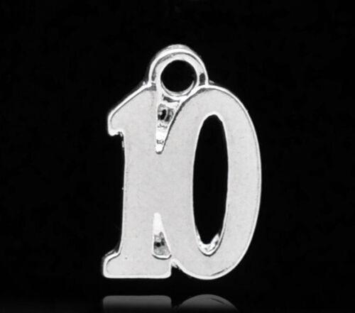 N21 10 número de placa de plata 10 encanto//Colgante 10x14mm Cumpleaños ~ copa de vino encantos