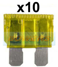 PACK OF 10 12V 24V VOLT 20A AMP YELLOW STANDARD BLADE FUSES KIT CAR VAN MARINE