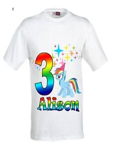 Image Is Loading Rainbow Dash Birthday T Shirt Personalised My Little