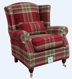 Ashley-Wing-Chair-Fireside-High-Back-Armchair-Balmoral-Red-Check-PS