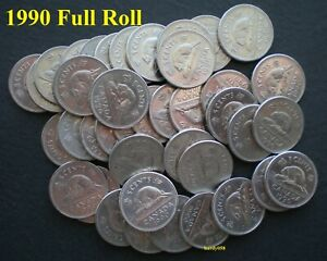 1990-1-roll-of-40-Canadian-Nickels-5-Circulated