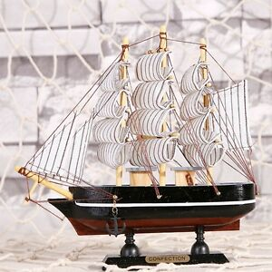 Vintage Model Ship 6 Wood Sailboat Handcrafted Tall Ship