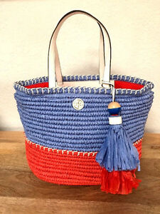 Nwt Tory Burch Small Colorblock Straw Tote Beach