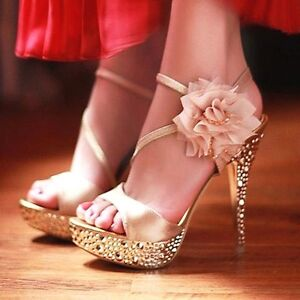 glitter lace flowers party queen strappy sandals high