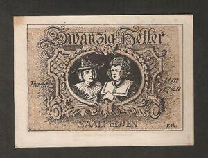 Austria-Gutschein-d-Marketgemeinde-SAALFELDEN-20-heller-1920-Notgeld-brown