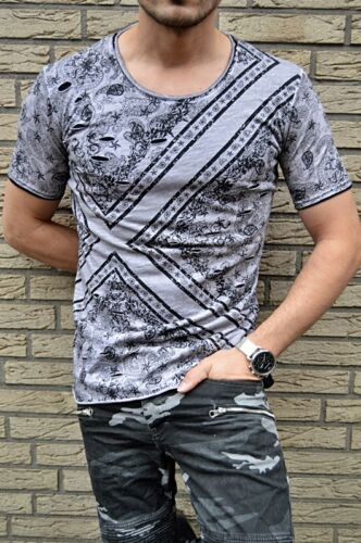 YOUNG FASSHION EXCLUSIVE DESIGNER FLOWER UK STYLE DJ Special DESTROYED T-SHIRT