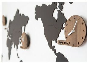 Wooden world map wall clock 3 country time puzzle diy wall silent image is loading wooden world map wall clock 3 country time gumiabroncs