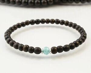 A59-Herren-Armband-Ebenholz-Perlen-5-mm-Aquamarin-Silber-Boho-Mala-Buddha-Yoga